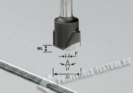 Фреза для выборки V- образного паза HW с хвостовиком 8 мм HW S8 D18-135° (Alu)