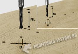 Фреза-сверло для изготовления отверстий под шканты HW с хвостовиком 8 мм HW S8 D5 30 Z