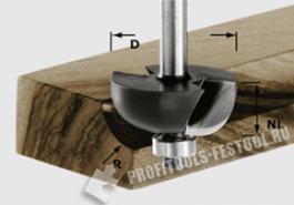 Фреза для выборки желобка HW с хвостовиком 8 мм HW S8 D28,7 R8 KL