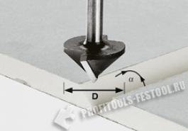 Фреза для выборки V- образного паза в листах гипсокартона HW с хвостовиком 8 мм HW S8 D12,5 45°