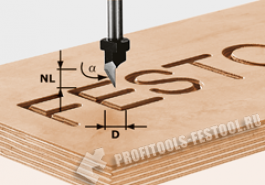 Фреза шрифтовая HW с хвостовиком 8 мм HW S8 D11 60°