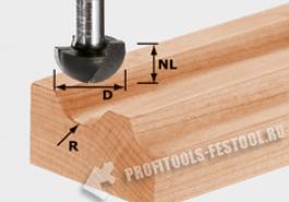 Фреза для выборки желобка HW с хвостовиком 12 мм HW S12 D40 25 R20