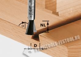 Фреза ласточкин хвост HW с хвостовиком 8 мм HW S8 D14,3 13,5 15°