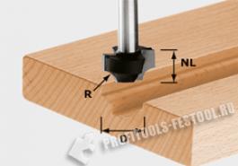 Фреза для профилирования выпуклой четверти HW с хвостовиком 8 мм HW S8 D23 R6
