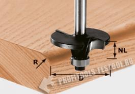 Фреза профильная радиальная скругляющая HW, с хвостовиком 8 мм HW S8 D42 R6